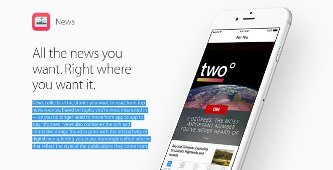 Imagen de la aplicación Apple News